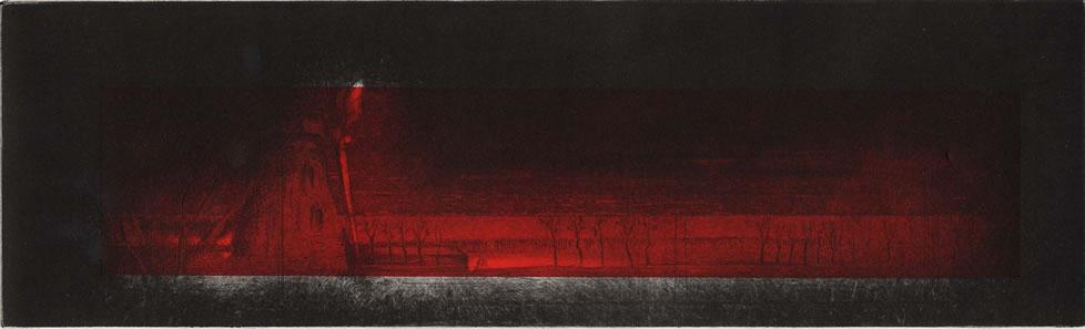 """""""L'être de mon moulin"""" - variation climatique. 34 x 10,5 cms. 1/6. Eau-forte & aquatinte. Moulin des Moëres. Belgique. 2006."""