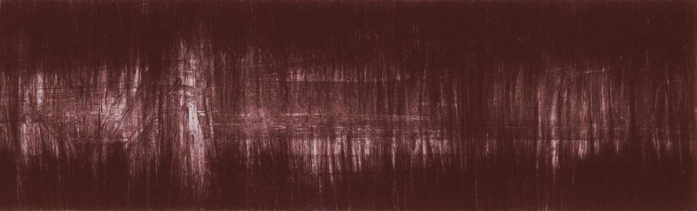 """""""L'être de mon moulin"""" - variation climatique. 34 x 10,5 cms. 3/6. Eau-forte & aquatinte. Moulin des Moëres. Belgique. 2006."""