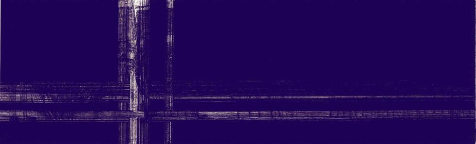 """""""L'être de mon moulin"""" - variation climatique. 34 x 10,5 cms. 5/6. Eau-forte & aquatinte. Moulin des Moëres. Belgique. 2006."""